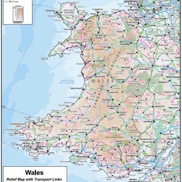 Compact Wales Relief Map with Transport Links - Overview