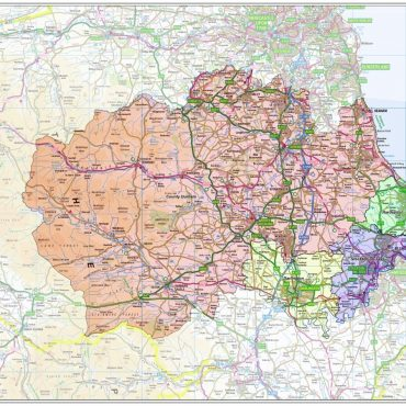 County Durham Boundary Map - Overview