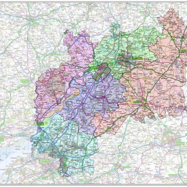 Gloucestershire County Boundary Map - Overview