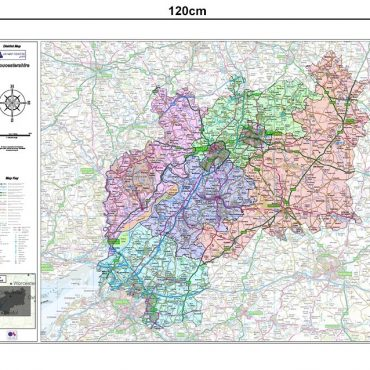 Gloucestershire County Boundary Map - Dimensions