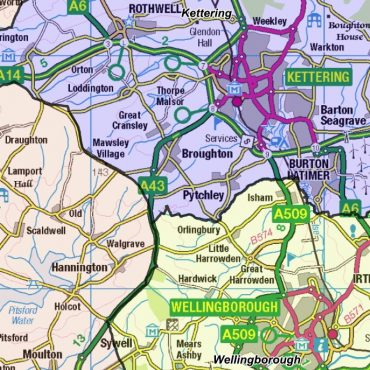 Northamptonshire County Boundary Map - Detail