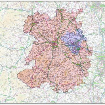 Shropshire County Boundary Map - Overview