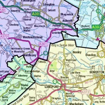 Somerset and Bristol County Boundary Map - Detail