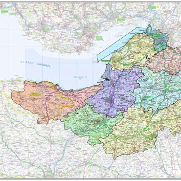 Somerset and Bristol County Boundary Map - Overview