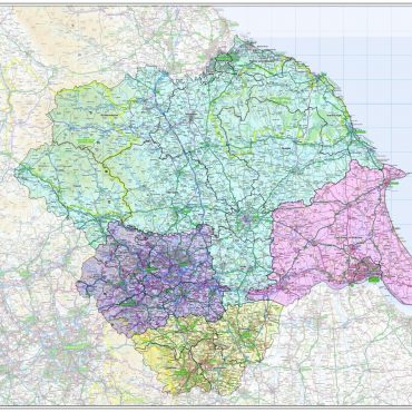 Yorkshire Counties Boundary Map - Overview