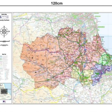 County Durham Boundary Map - Dimensions