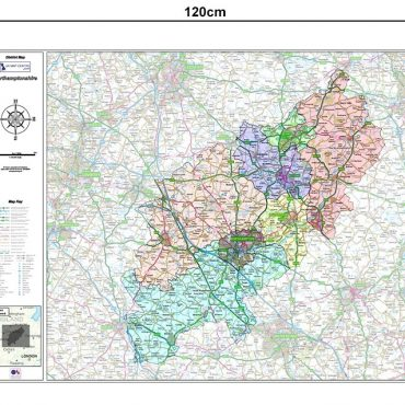 Northamptonshire County Boundary Map - Dimensions