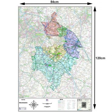 Warwickshire County Boundary Map - Dimensions