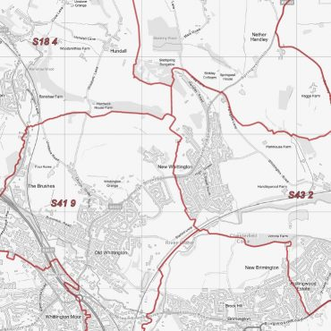Postcode City Sector Chesterfield - Greyscale - Detail