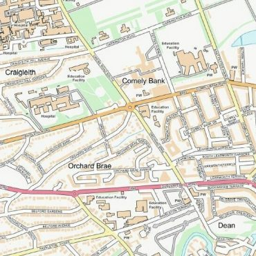 City Street Map - Central Edinburgh - Colour - Detail