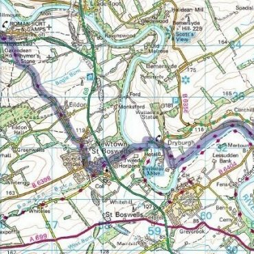 Borders Abbey Way Route Map - Detail