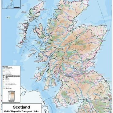 Compact Scotland Map - Relief Map with Transport Links - Overview