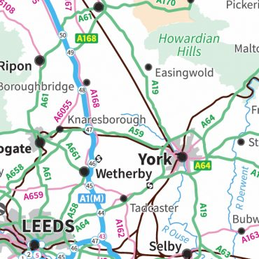 Travel Map 3 - Northern England - Colour - Detail