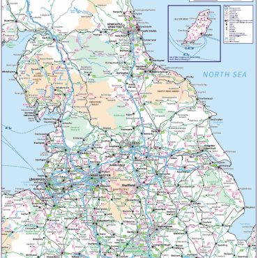 Travel Map 3 - Northern England - Colour - Overview