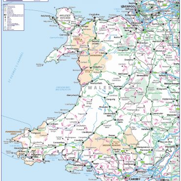 Travel Map 5 - Wales - Colour - Overview
