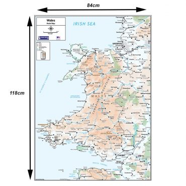 Relief Map 5 - Wales - Colour - Dimensions