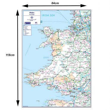Travel Map 5 - Wales - Colour - Dimensions