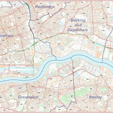 Postcode Street Map - East London - Overview