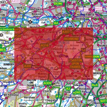 City Street Map - South West London - Coverage