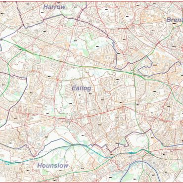 Postcode Street Map - West London - Colour - Overview